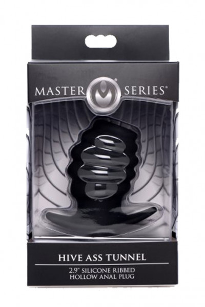 MASTER SERIES Ass Tunnel Ribbed Hollow Anal Plug small