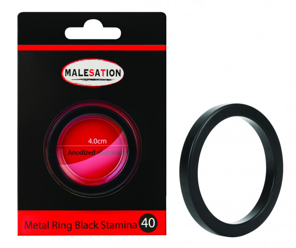 MALESATION Metal Ring Black Stamina 40
