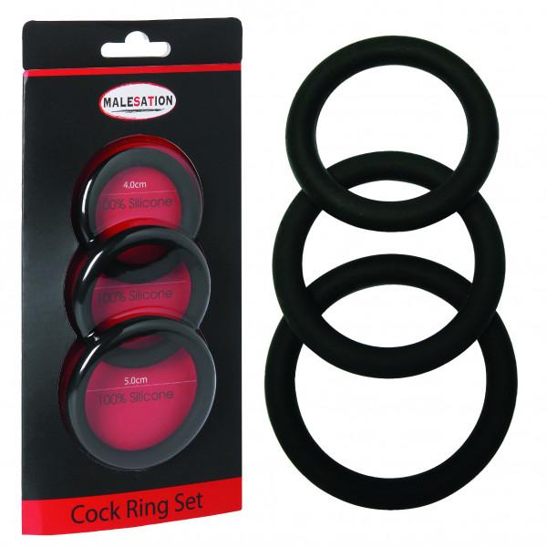 MALESATION Cock Ring Set (Ø 4,00 cm, 4,50 cm, 5,00 cm)