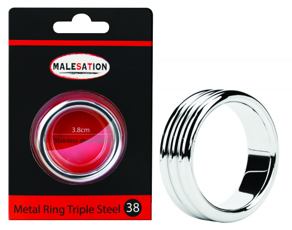 MALESATION Metal Ring Triple Steel 38