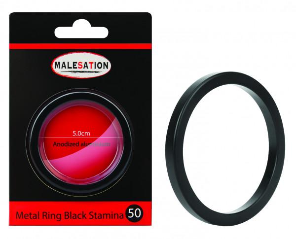 MALESATION Metal Ring Black Stamina 50